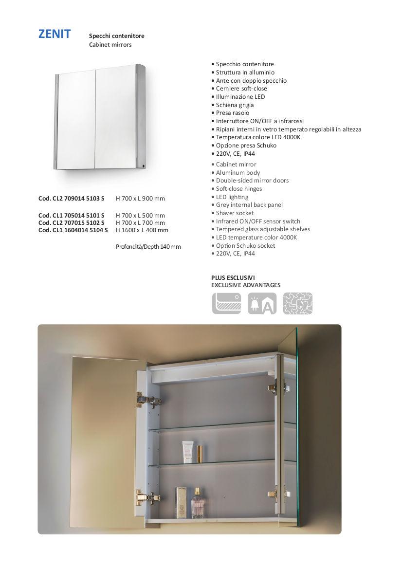 fiche techniuqe miroir container salle de bain led vanità e casa zenit
