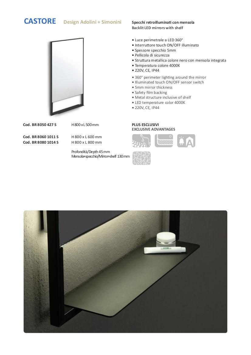 scheda tecnica specchio bagno led con mensola vanità e casa castore