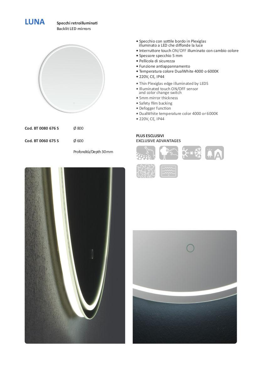 scheda tecnica specchio bagno led vanità e casa luna