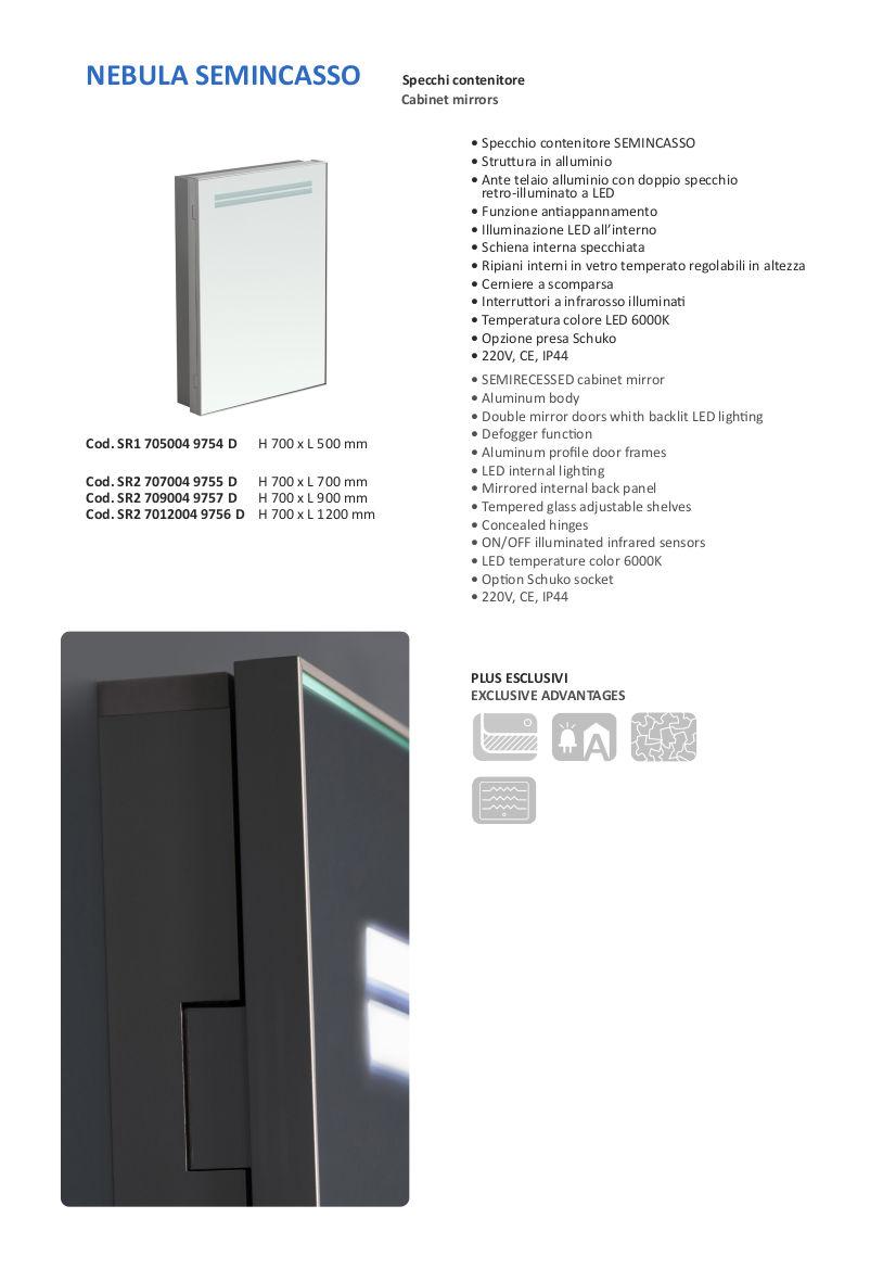 fiche technique miroir container semi-encastré vanità e casa nebula