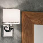 applique a muro alcione cromo con paralume corona bianco decoro argento eban