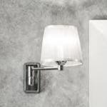 applique a muro mimosa a snodo cromo con paralume alba organza argento