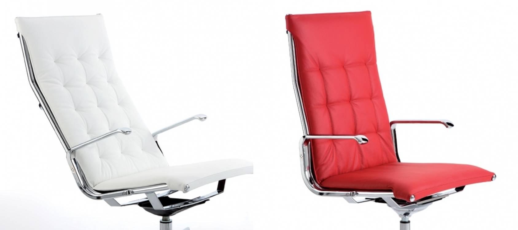 sedia_direzionale_Luxy_modello_taylord_bianca_e_rossa