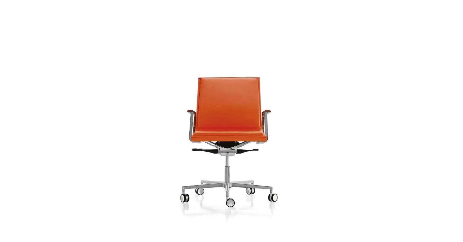 sedute_direzionali_luxy_serie_nulite_ergonomica_girevole_ufficio_schienale_medio_braccioli_imbottita_pelle_arancione