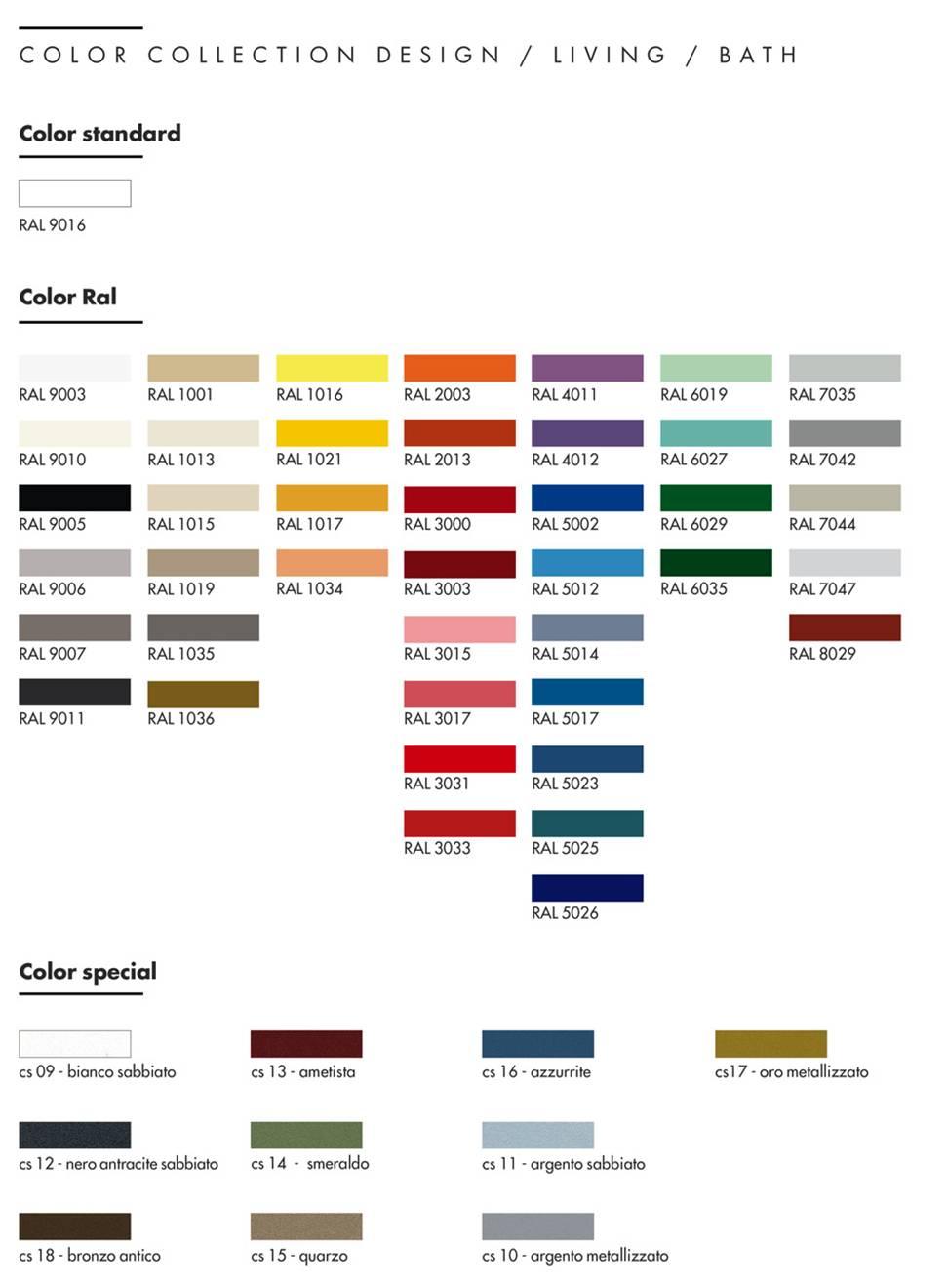 tabella_colori_Graziano_radiators_STANDARD_-_RAL_-_SPECIAL