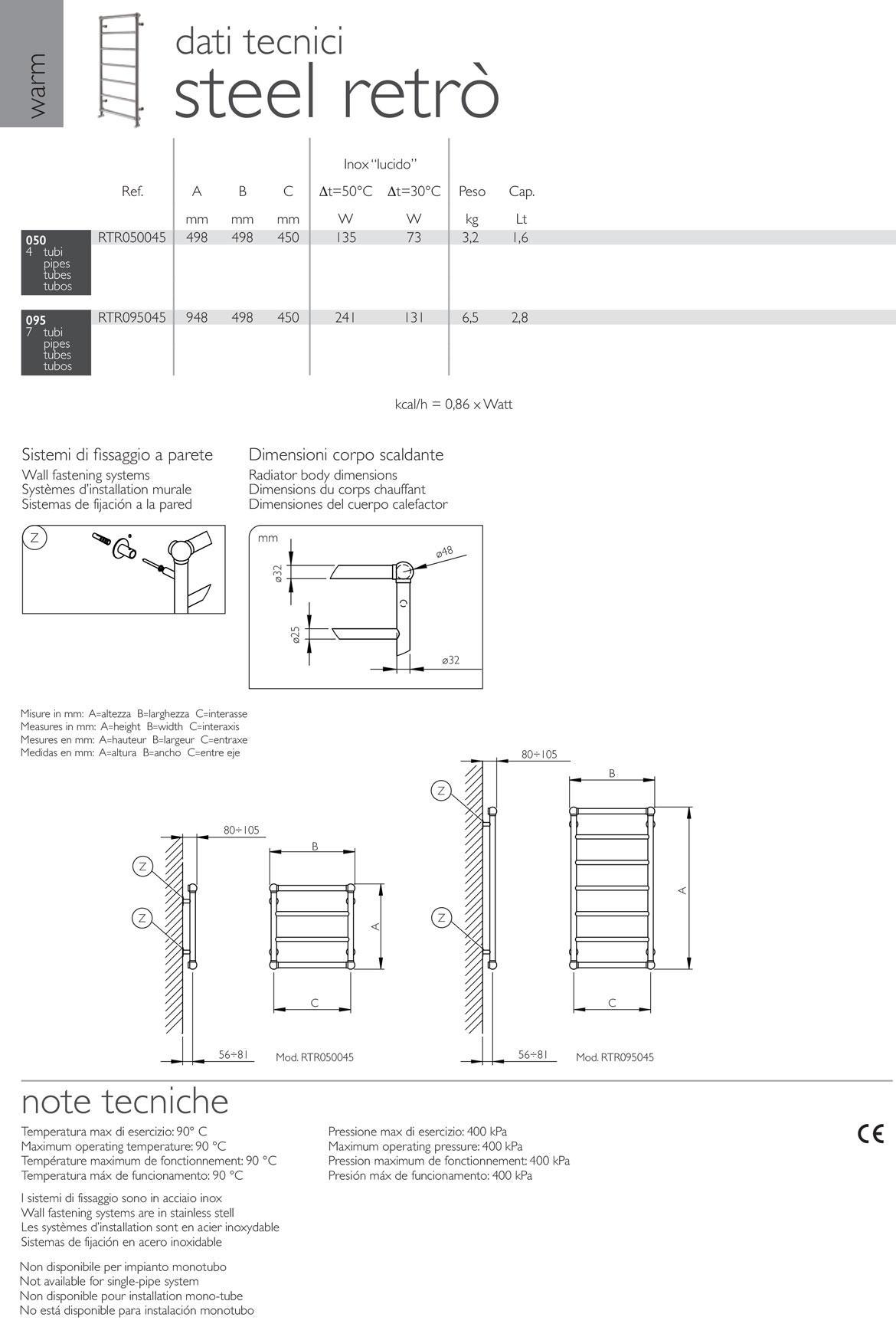 fiche-technique-sèche-seviettes-classique-steel-retrò-deltacalor
