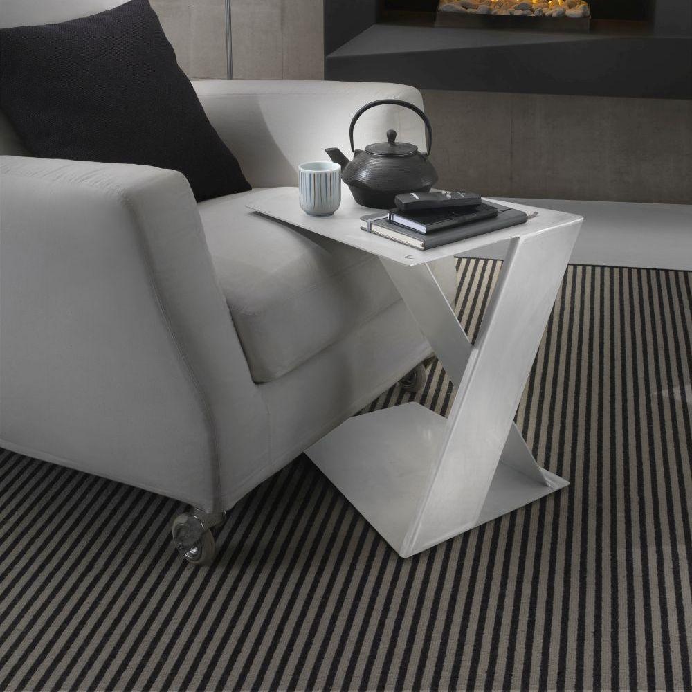 petite table en acier siderietto siderio Blanc