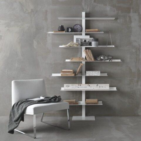 steel bookcase apollo siderio White