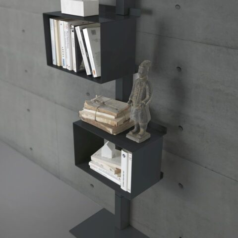libreria rettangola siderio in acciaio Charcoal