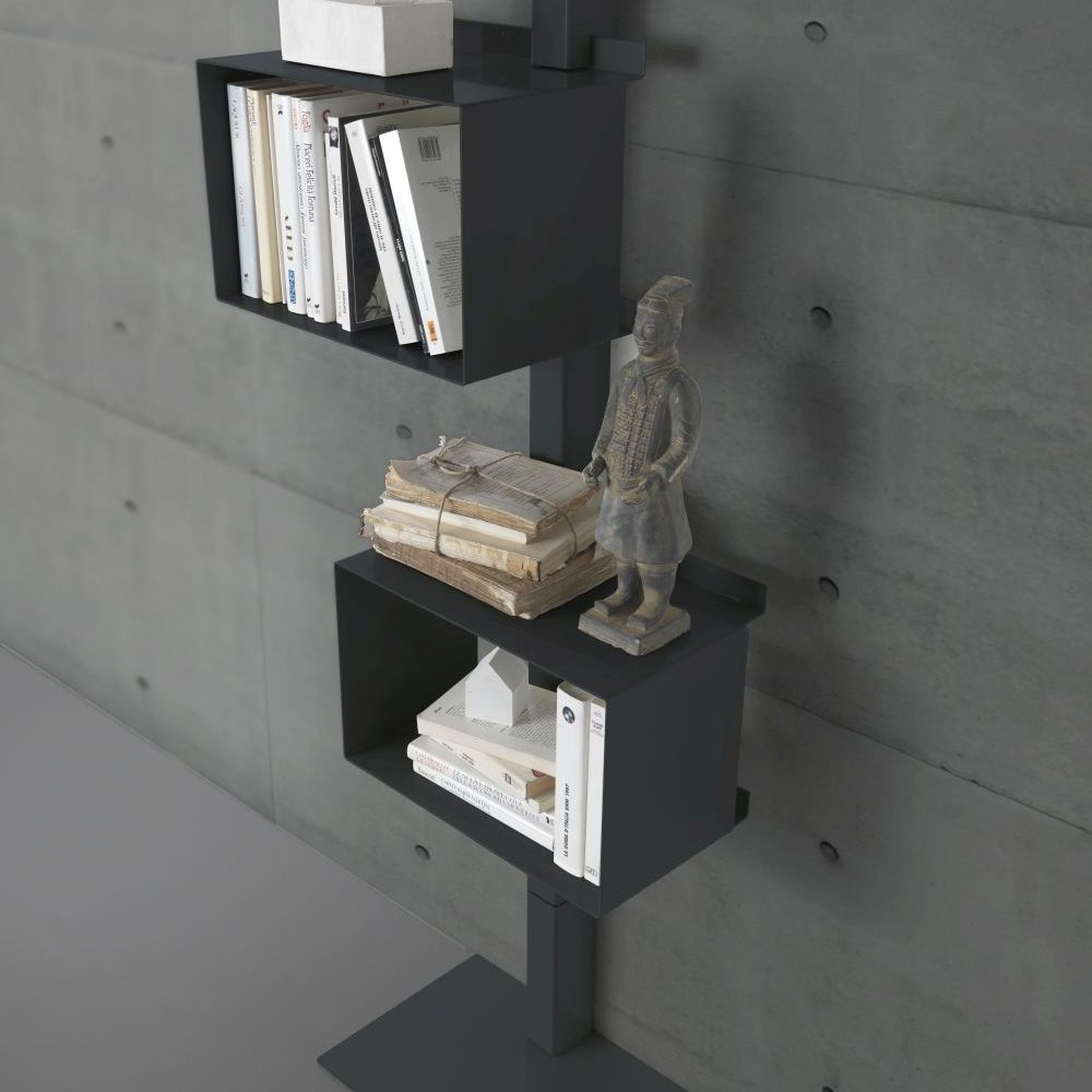 bibliothèque en acier rettangola siderio Charcoal