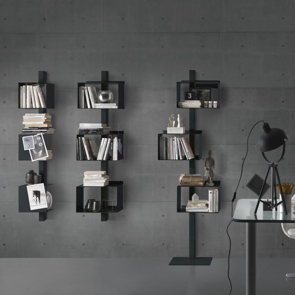bibliothèque en acier rettangola siderio Charcoal2