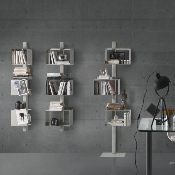 bibliothèque en acier rettangola siderio blanc