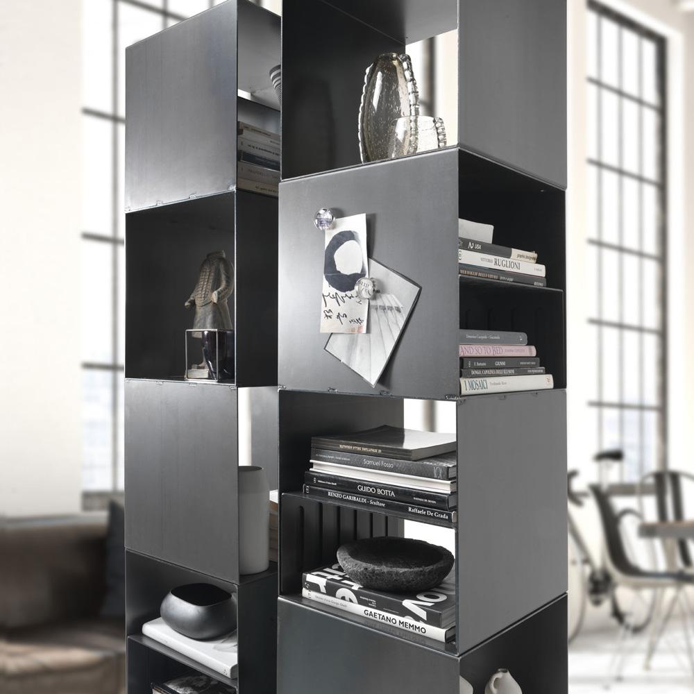 Libreria da Muro di Abete e Acciaio 90,5x35x180 cm Libreria in Massello Festnight