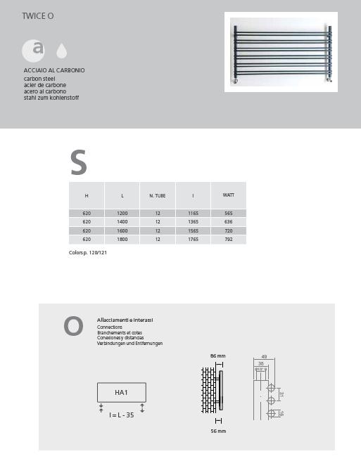 Scheda tecnica scaldasalviette tubolare twice o graziano radiators
