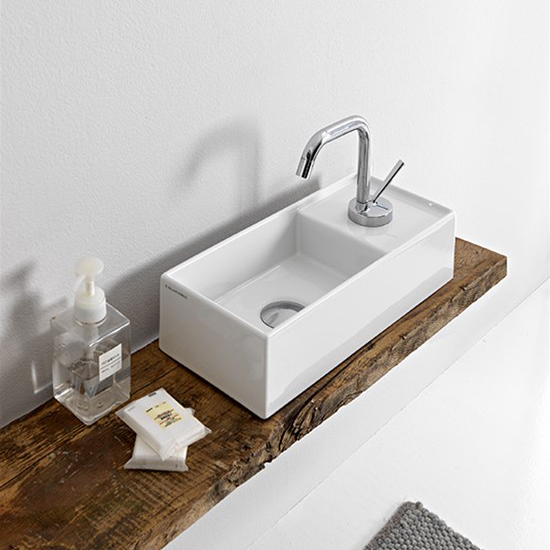 lavabo da appoggio ceramica bianco 41x19 teorema 2.0 scarabeo