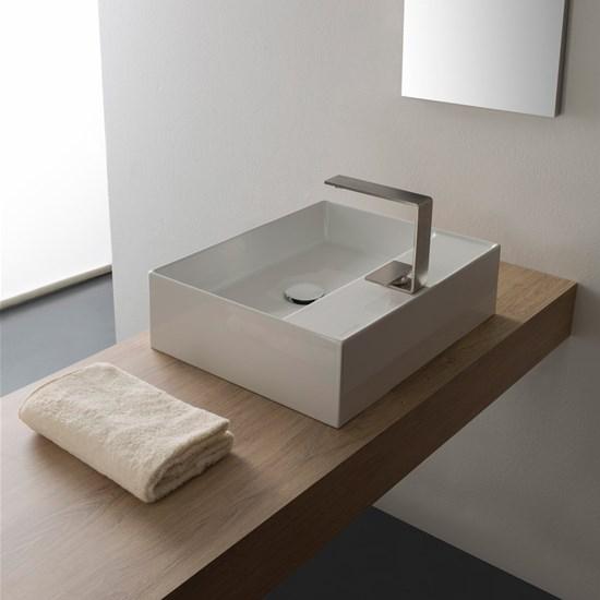 lavabo da appoggio ceramica bianco 50,5x39,5 teorema 2.0 scarabeo
