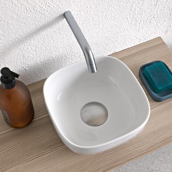 aufsatzwaschbecken keramik Weiß farbig glam 22,5x22,5 scarabeo