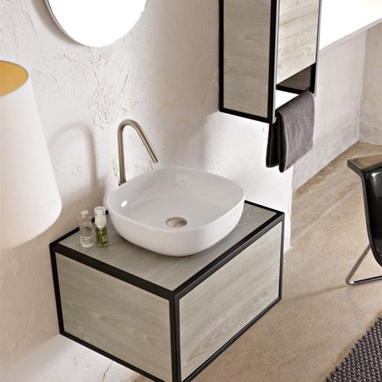 aufsatzwaschbecken keramik Weiß farbig glam 40x40 scarabeo