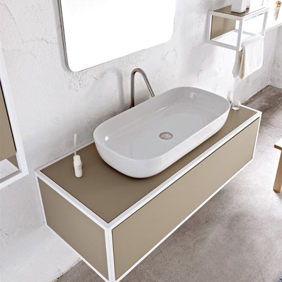 aufsatzwaschbecken keramik Weiß farbig glam 76x39 scarabeo