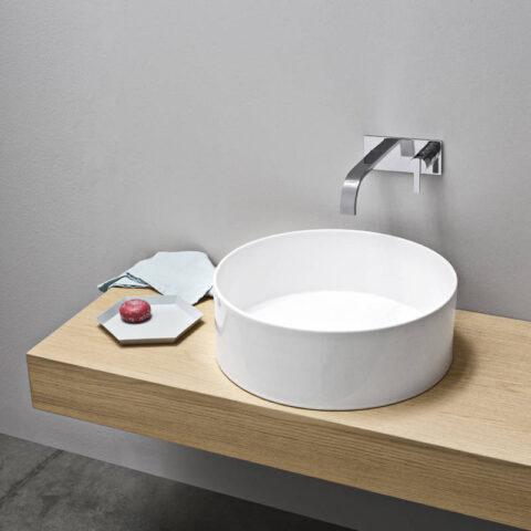 lay on washbasin ceramic white nic design ovvio tondo