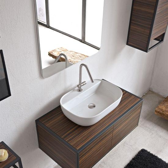 lavabo da appoggio in ceramica con foro per rubinetto 56x38 glam r scarabeo