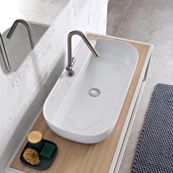 lavabo da appoggio in ceramica con foro per rubinetto 76x38 glam r scarabeo