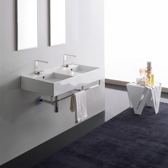 lay on or wall mounted washbasin white double tank 101x46 scarabeo teorema 2.0