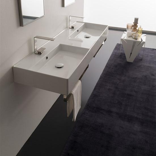 lay on or wall mounted washbasin white double tank 141x46 scarabeo teorema 2.0