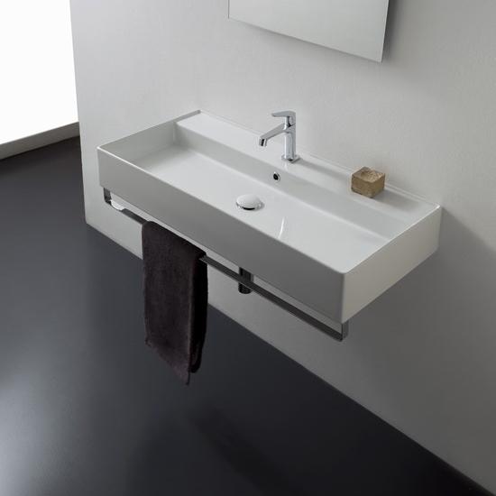 lavabo da appoggio o sospeso ceramica bianco 100x46 teorema 2.0
