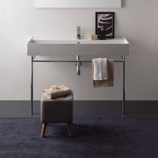 lavabo da appoggio o sospeso ceramica bianco 120x46 teorema 2.0