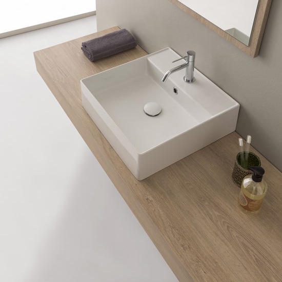 lavabo da appoggio o sospeso ceramica bianco 46x46 teorema 2.0