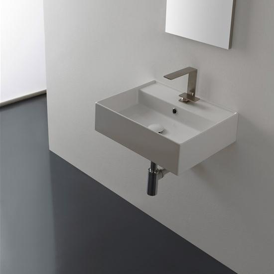 lavabo da appoggio o sospeso ceramica bianco 50,5x39,5 teorema 2.0