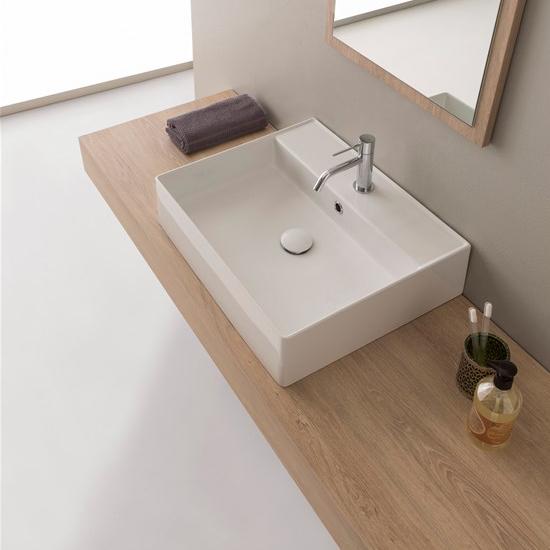lavabo da appoggio o sospeso ceramica bianco 60x46 teorema 2.0