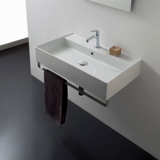 lavabo da appoggio o sospeso ceramica bianco 80x46 teorema 2.0