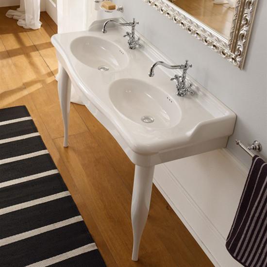 lavabo da appoggio o sospeso ceramica doppia vasca scarabeo castellana