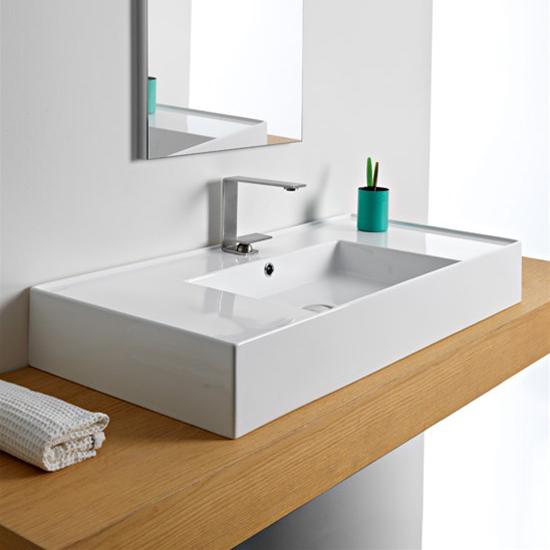 lavabo da appoggio o sospeso con doppia mensola 101x46 scarabeo teorema 2.0