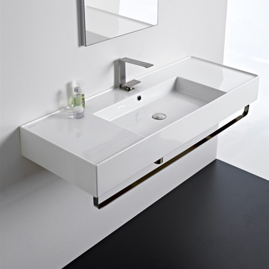 lavabo da appoggio o sospeso con doppia mensola 121x46 scarabeo teorema 2.0