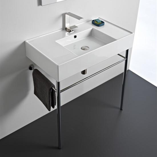 lavabo da appoggio o sospeso con doppia mensola 81x44 scarabeo teorema 2.0