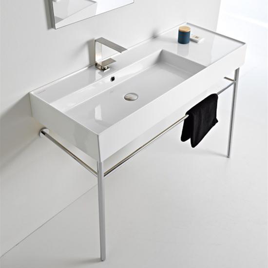 lavabo da appoggio o sospeso con mensola a destra 121x46 scarabeo teorema 2.0