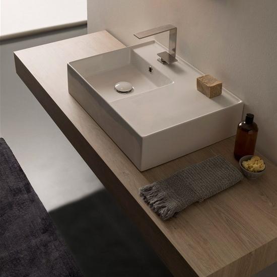 lavabo da appoggio o sospeso con mensola a destra 60x44 scarabeo teorema 2.0