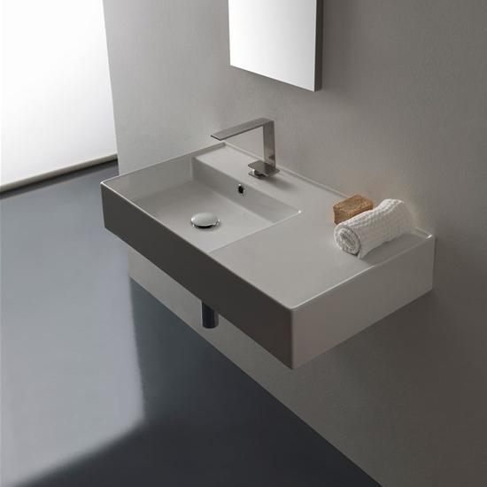 lavabo da appoggio o sospeso con mensola a destra 80x44 scarabeo teorema 2.0