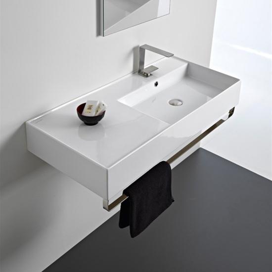 lavabo da appoggio o sospeso con mensola a sinistra 101x46 scarabeo teorema 2.0