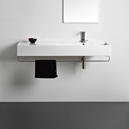 lavabo da appoggio o sospeso con mensola a sinistra 121x46 scarabeo teorema 2.0