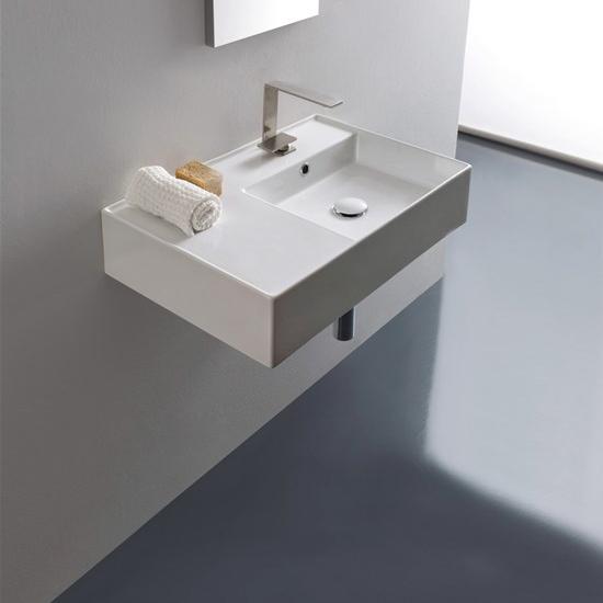 lavabo da appoggio o sospeso con mensola a sinistra 60x44 scarabeo teorema 2.0