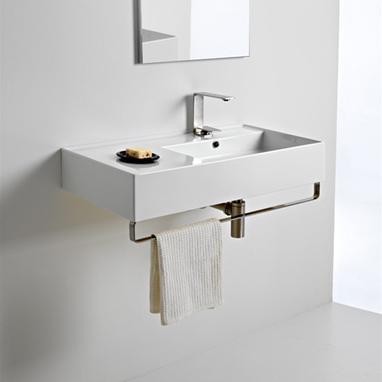 lavabo da appoggio o sospeso con mensola a sinistra 80x44 scarabeo teorema 2.0