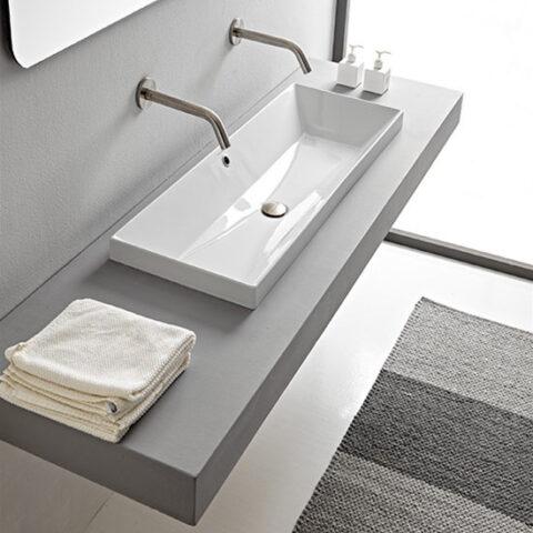 lavabo da incasso ceramica 100x36 senza foro scarabeo teorema 2.0