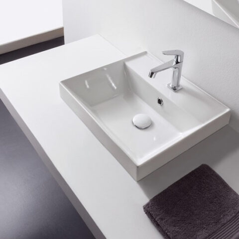 built-in washbasin ceramic 45x44 teorema 2.0 with tap hole