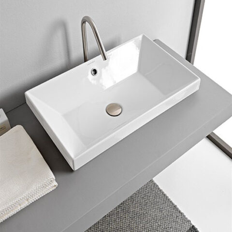 built-in washbasin ceramic 80x36 without tap hole scarabeo teorema 2.0