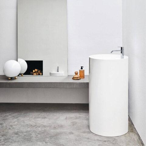 Freestanding washbasin ceramic with tap hole ovvio nic design