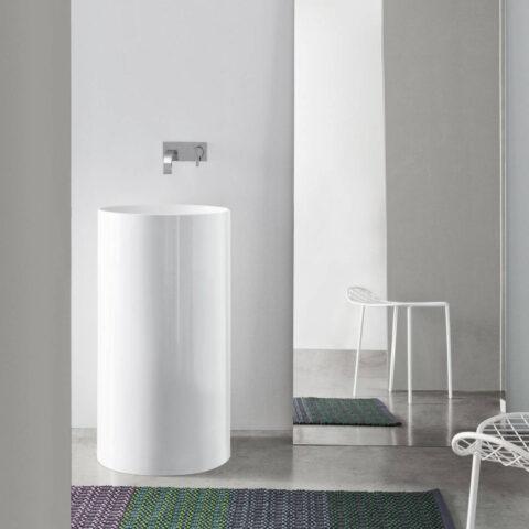 lavabo freestanding ceramica senza foro per rubinetto ovvio nic design